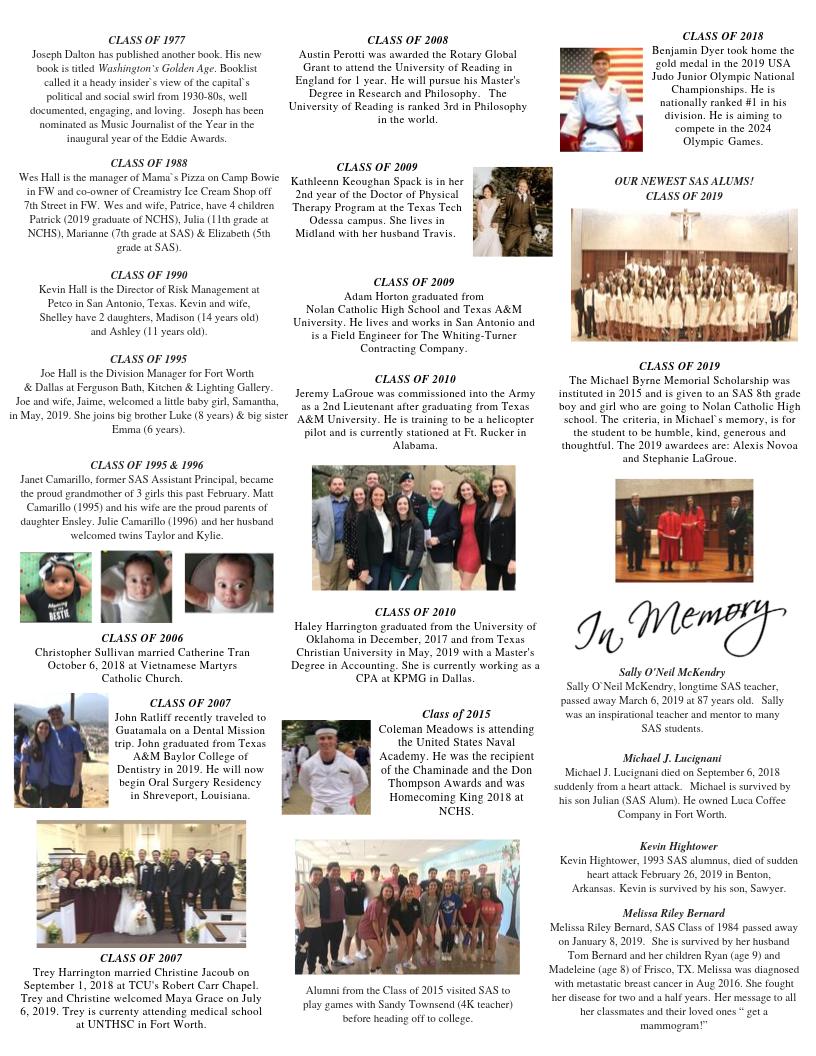 Alumni Newsletter - Saint Andrew Catholic School